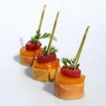Foie gras, coulis de mangue et framboise
