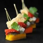 Carotte en finger, caviar d'aubergine, légumes croquants